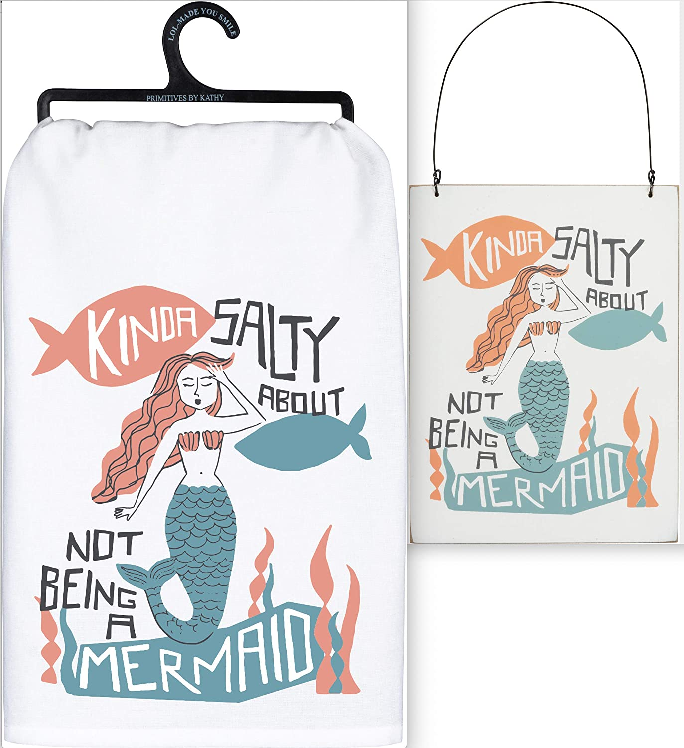 Primitives by Kathy Mermaid Bundle Set of 2 in White Organza Bag - Dish Towel and Hanging Sign - Kinda Salty About Not Being A Mermaid