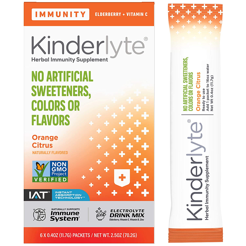 Kinderlyte Immunity: Immune Support Hydration Supplement, Plant Powered Blend, Electrolyte Drink Mix, Elderberry, Turmeric, Vitamin D3 (Orange Citrus, 6 Stick Packs)