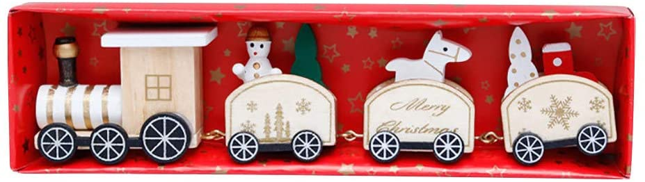fghjj wihakdh 1 Piece Wood Small Train Christmas Decorations with Snowman/Bear Doll Toys Table Display Christmas Display Window Suitable for Xmas Party or Children Kindergarten Festive