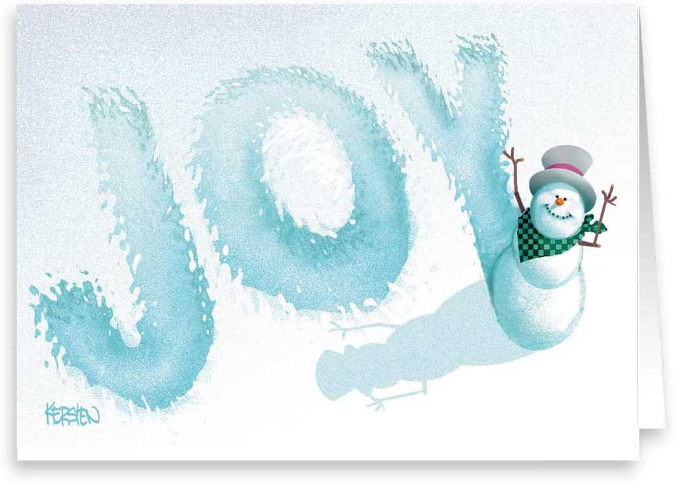 Joy! - Snowman Writes Joy in Snow Holday Card - 18 Boxed Christmas Cards