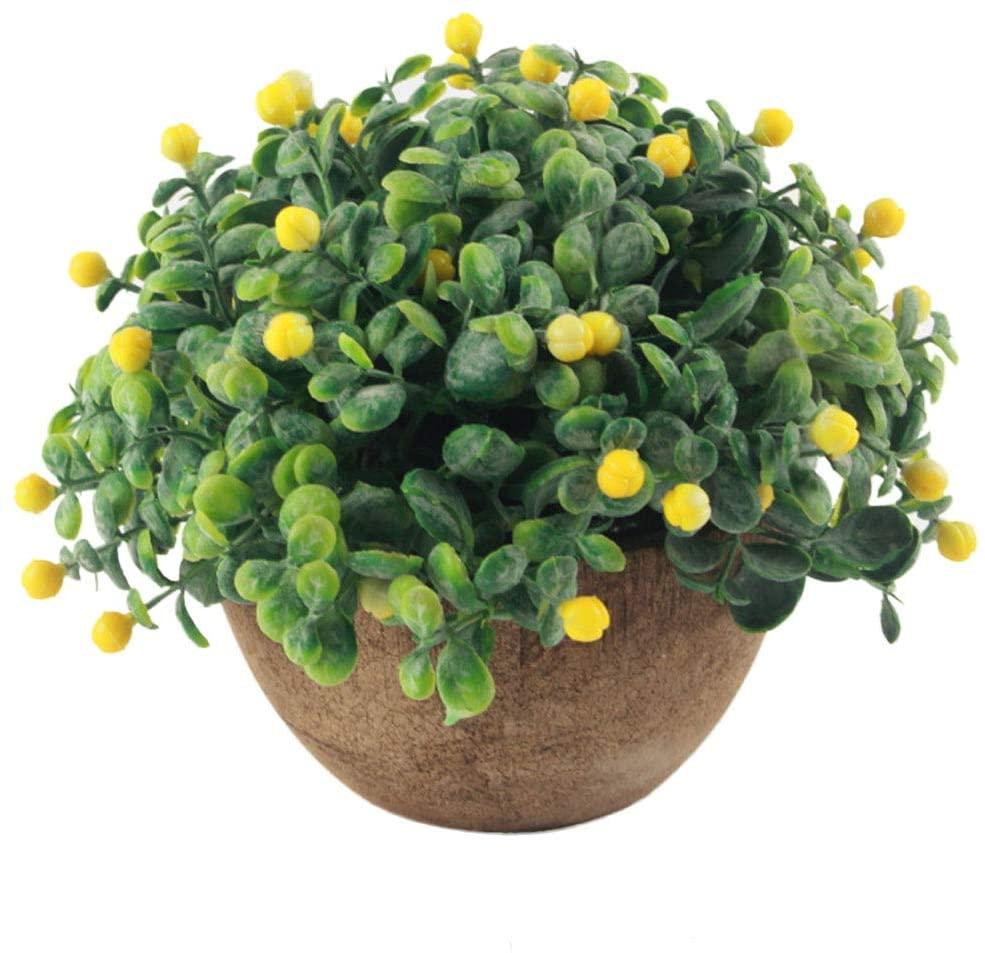LOadSEcr's Fakeflowers Decor, 1Pc Artificial Berry Semicircle Pot Bonsai Garden Office Desk Hanging Flowers, DIY Wedding Bouquets Party Home Decorations - White