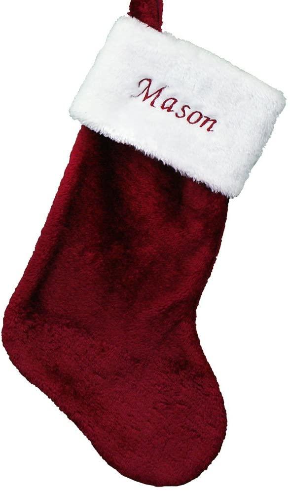 GiftsForYouNow Burgundy Personalized Plush Stocking, 19, Customized Christmas Stocking, Cotton Stocking, Any Name Christmas Stocking, Embroidered Stocking, Holiday Living Room Gift, Unique Stocking