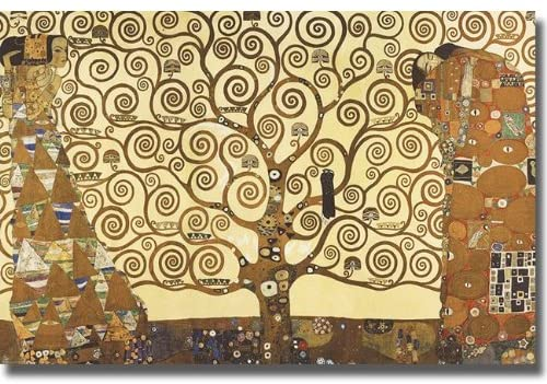 Artistic Home Gallery Tree of Life by Gustav Klimt Premium Stretched Canvas with Hand-Painted Edges (Ready to Hang, Black-Edges)