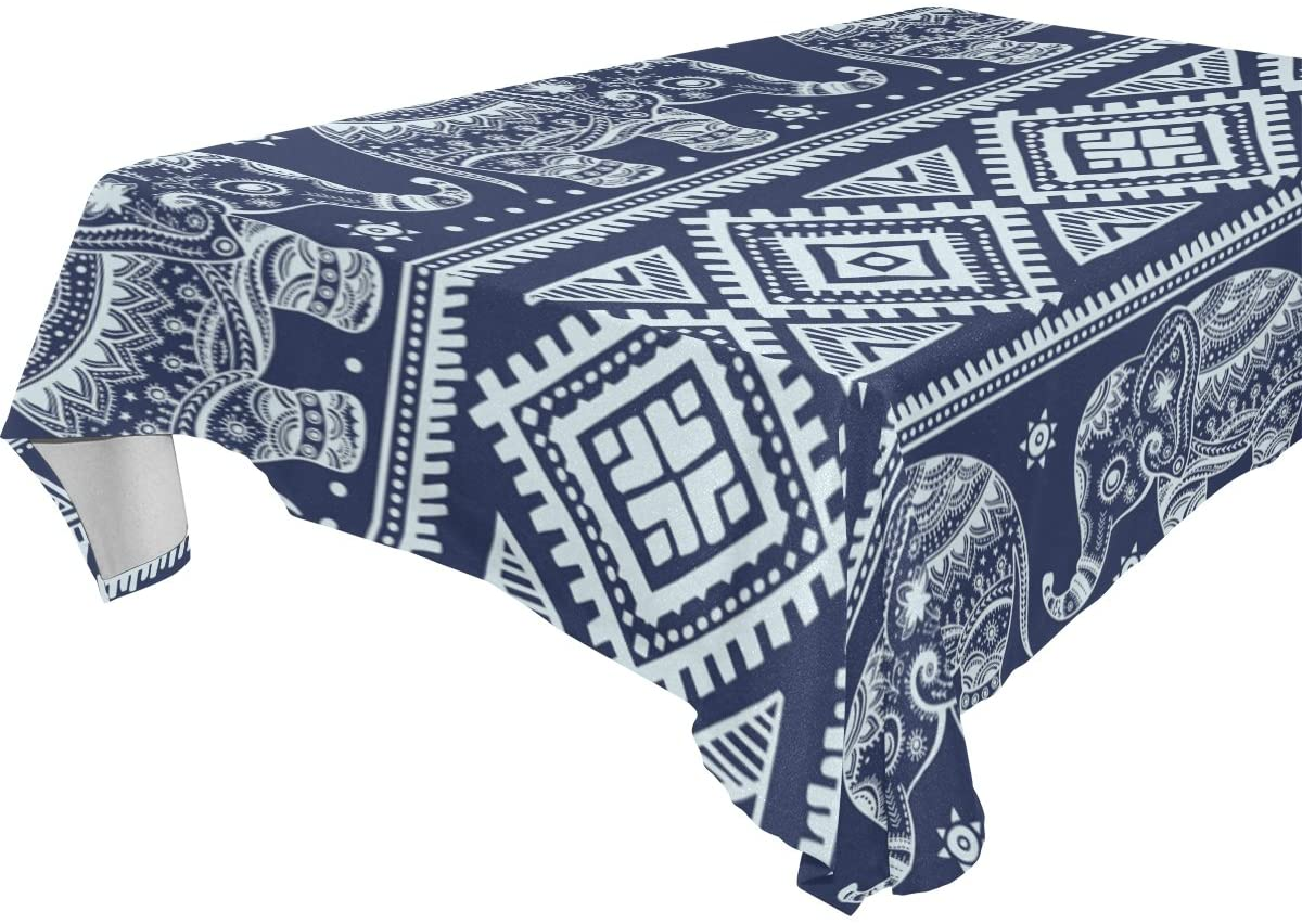 WOZO Rectangular Vintage Pencil Indian Elephant Tribal Tablecloth Table Cloth Cover for Home Decor Dinner Kitchen Party Picnic Wedding Halloween Christmas 60x120 inch