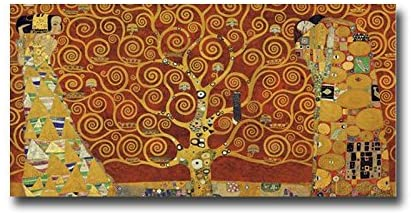 The Tree of Life - Red by Gustav Klimt Premium Gallery-Wrapped Canvas Giclee Art (18 in x 36 in, Ready to Hang)