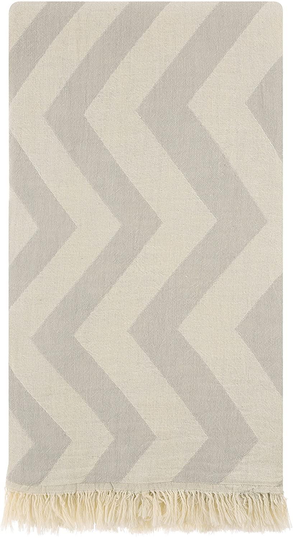 Cacala Assos Series - Turkish Bath Towels - Traditional Peshtemal Design for Bathrooms, Beach, Sauna - 100% Natural Cotton, Ultra-Soft, Fast-Drying, Grey