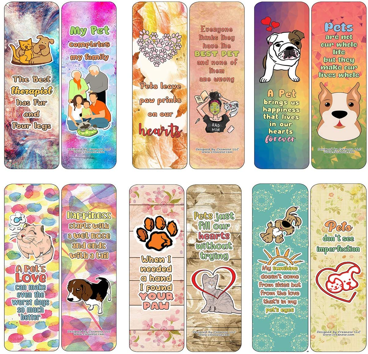 Creanoso Heartwarming Pet Quotes Bookmarks Cards (30-Pack) - Classroom Reward Incentives for Students and Children - Stocking Stuffers Party Favors & Giveaways for Teens & Adults