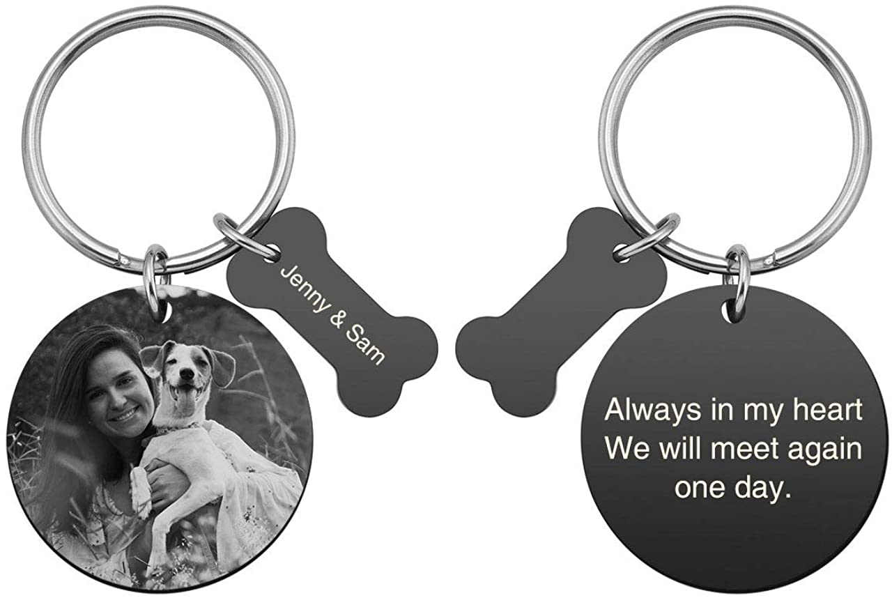 PiercingJ Personalized Custom Photo Picture Text Engraved Stainless Steel Pet Memorial Gifts Keychain Bone Round Dog Tag Pendant Key Ring Loss of Pet Dog Sympathy Keychain Jewelry