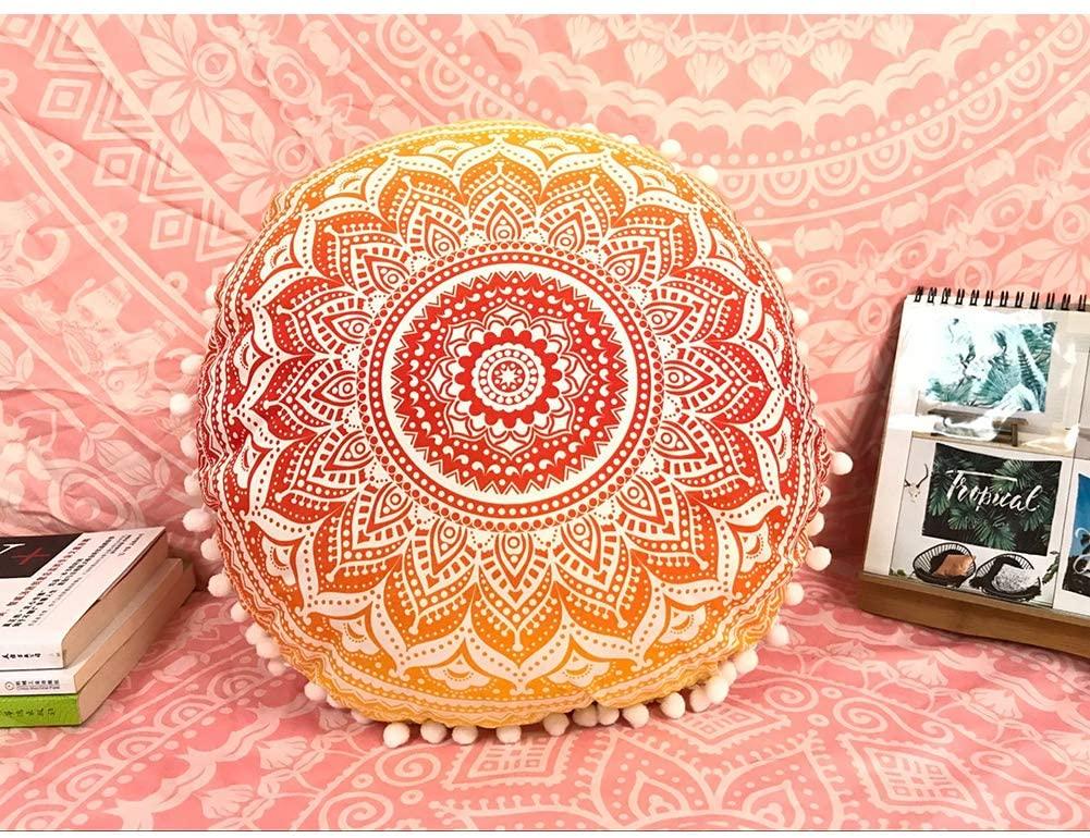 QCWN Mandala Pillow Cover- Hippie Mandala Floor Pillow Cover, Cushion Cover, Pouf Cover Round Bohemian Yoga Decor Floor Cushion Case.Brown 27