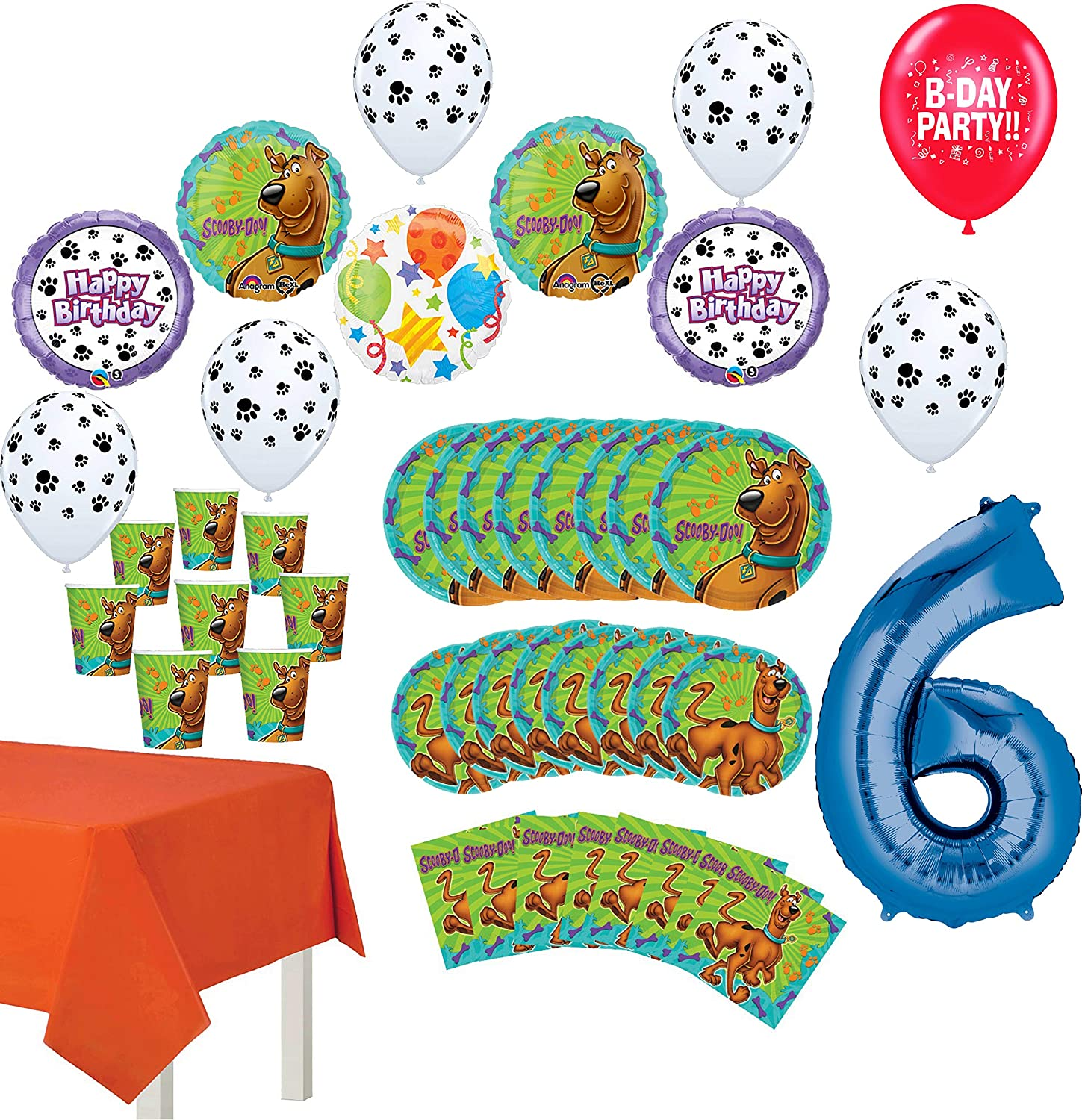 Scooby Doo Party Supplies 6th Birthday 8 Guest Table Decorations and Balloon Bouquet