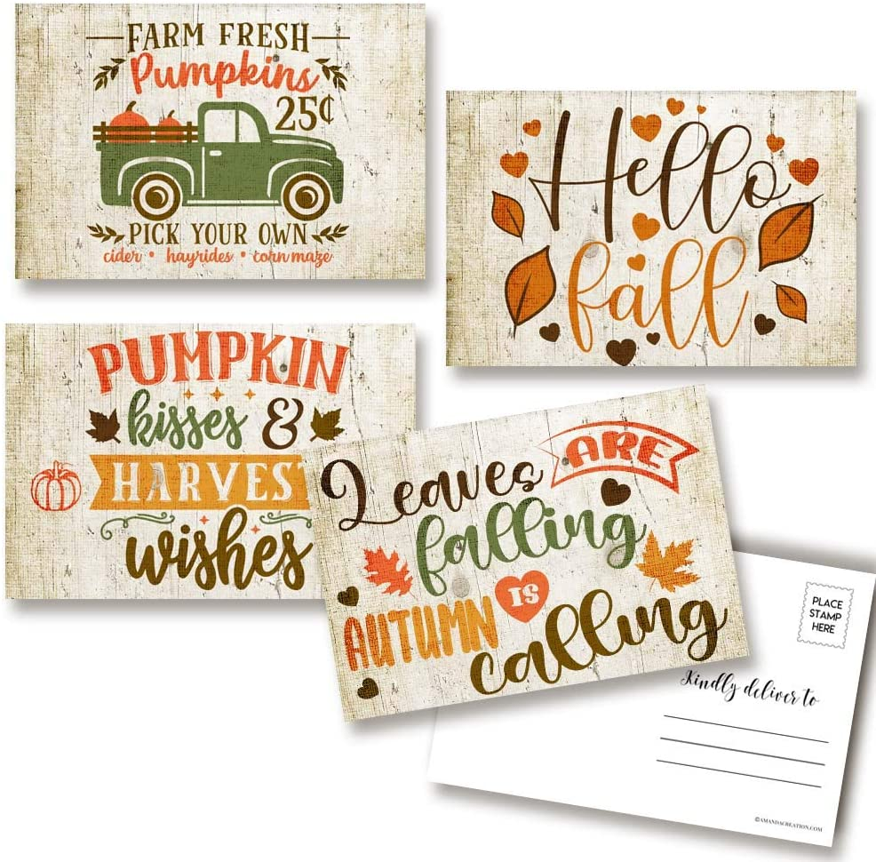 Pumpkins & Leaves Rustic Fall & Autumn Themed Blank Postcards To Send To Friends & Family, 4