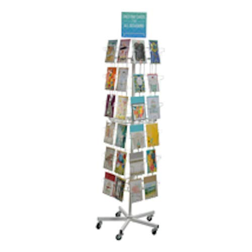 Standing Greeting Card Display 14.75 W x 14.75 D x 65 H Inches with 48 Pockets