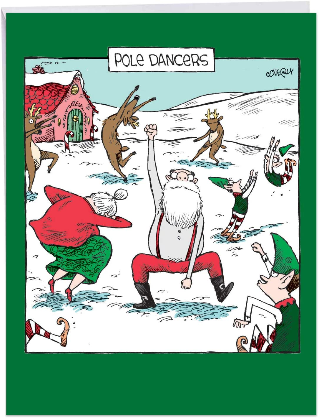 Pole Dancers - Hilarious Merry Christmas Greeting Card with Envelope (Big 8.5 x 11 Inch) - Dancing Santa Claus and Elves, North Pole Humor - Xmas Happy Holidays Notecard From All of Us J7082XSG-US