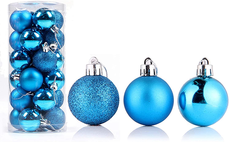 Bestjybt 24pcs Christmas Ball Ornaments Shatterproof Christmas Decorations Tree Balls for Holiday Wedding Party Decoration, Tree Ornaments Hooks Included (Blue, 4cm/1.57