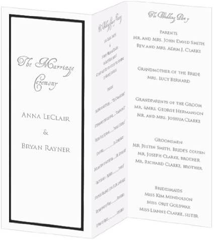 Black Foil Invitation, Program, Trifold, Radiant White Cardstock, 65lb, 50 Pack