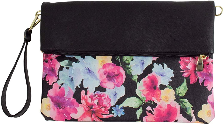 Charis HIGH FIVE Vegan Leather 2 Way Wristlet for Women Botanical Flower Clutch Bag