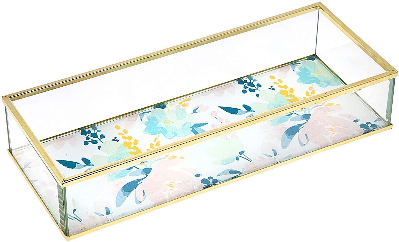 Philip Whitney Glass Jewelry Tray Vanity Dresser Perfume Organizer - Gold Star Print - Rectangular