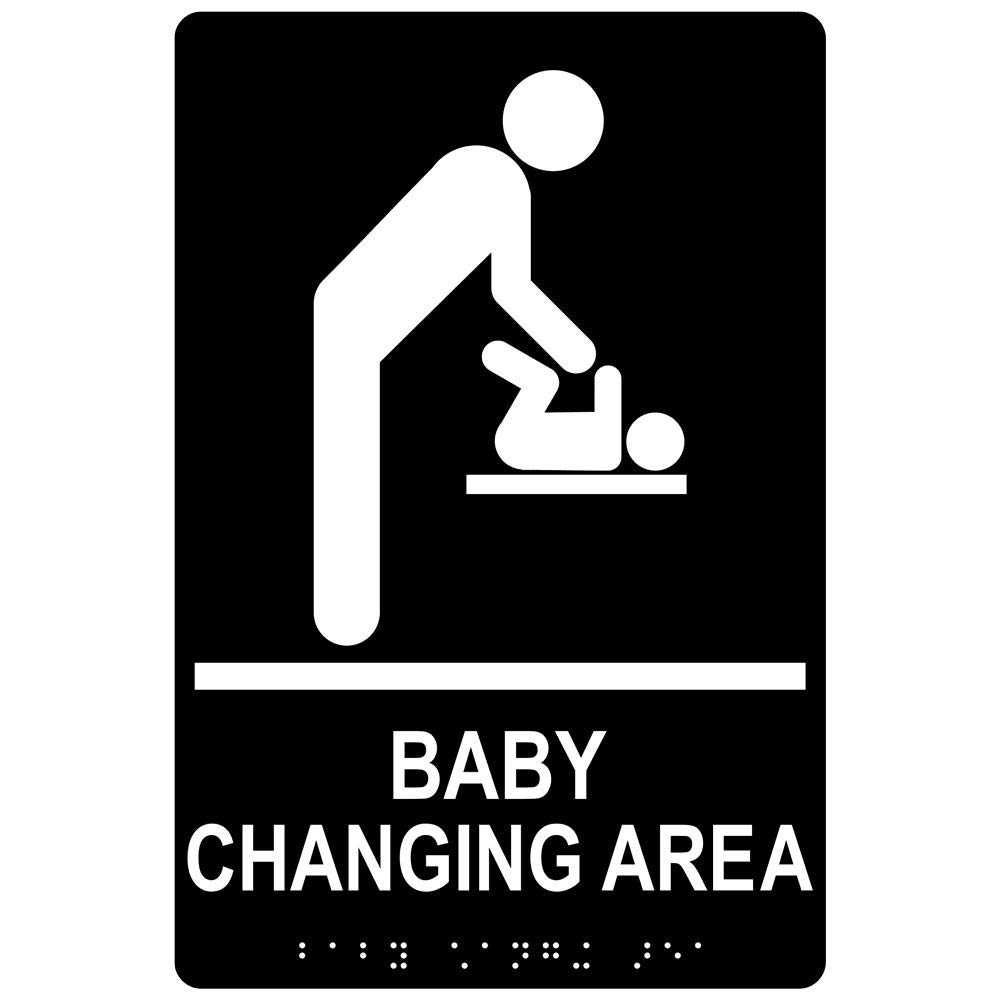 Baby Changing Area Sign, ADA-Compliant Braille and Raised Letters, 9x6 inch White on Black Acrylic with Adhesive Mounting Strips by ComplianceSigns