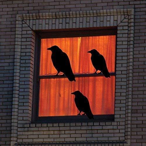 CustomVinylDecor Black Birds Wall Decals - Spooky Theme Vinyl Stickers - Haunted House, Halloween, Fall Season Decorations - Use Indoor or on Outdoor Windows
