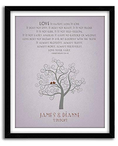 GoodNightOwl Designs, Love is Patient 40th 25th 10th Anniversary Gift, Family Tree Art, Personalized Wedding Gift, Unique Custom Christmas Holiday Housewarming Wall Artwork, Holiday Gifts Under 25