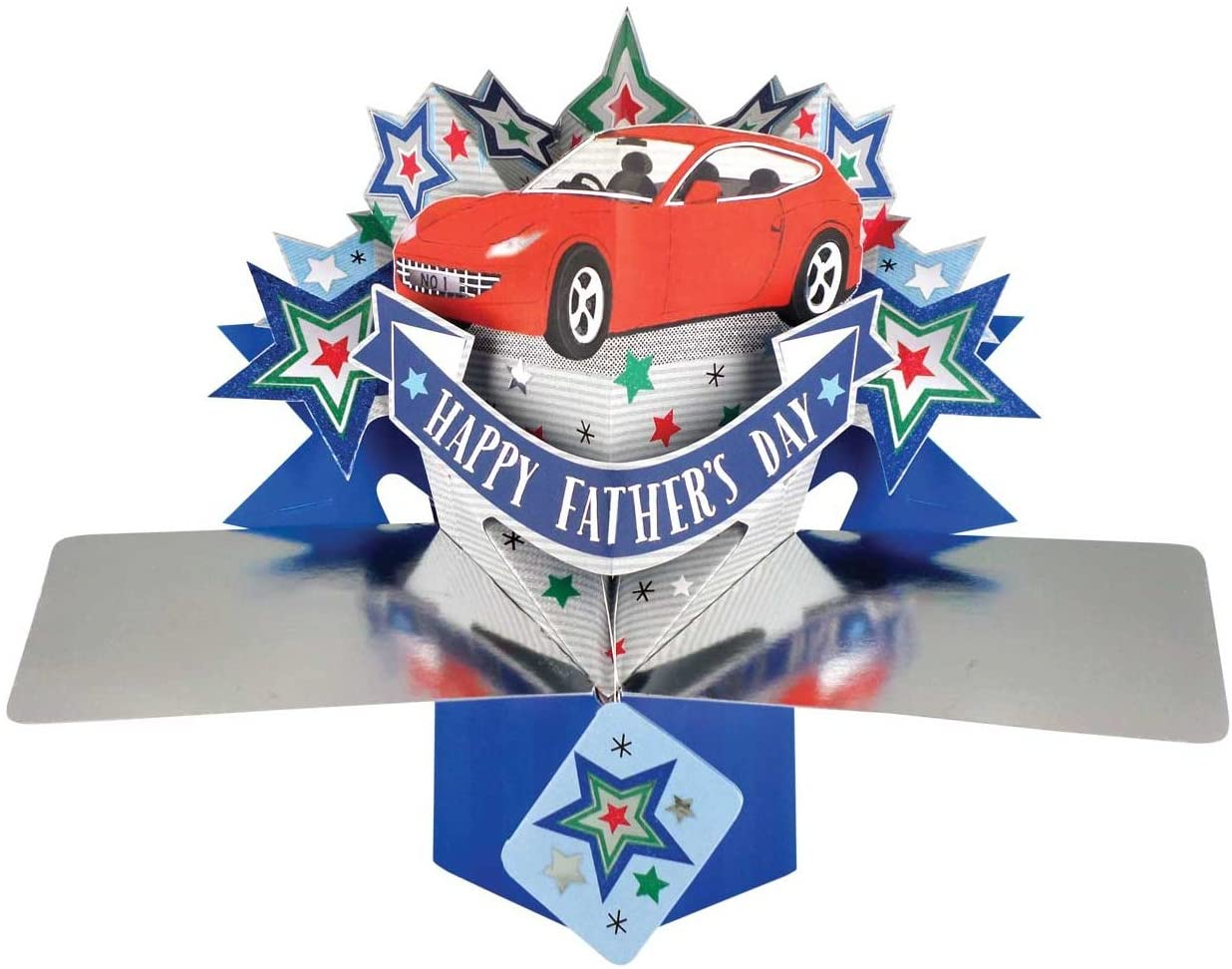Happy Father's Day Red Car Pop-Up Greeting Card Second Nature 3D Pop Up Cards