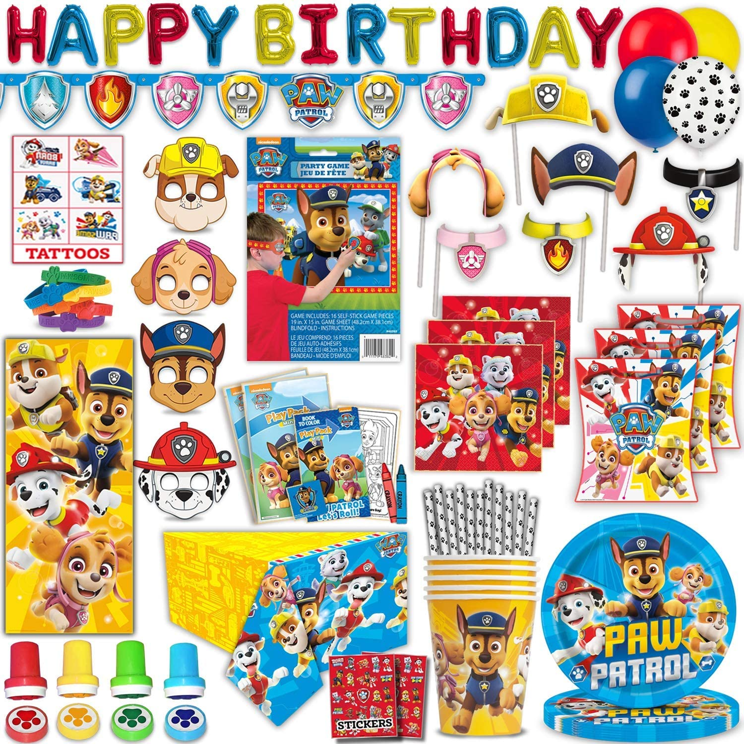 Paw Patrol Birthday Party Supplies, Favors & Decoration, Serves 16 - Plates, Napkins, Cups, Straws, Masks, Banner, Balloons, Tablecover, Photo Props, Game, Play-Packs, Bracelets, Door Poster, Stamps, Tattoos, Stickers