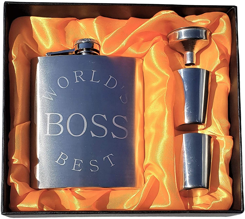 World's Best Boss Flask Gift Set - 7 oz Flask, Great Gift for Bosses