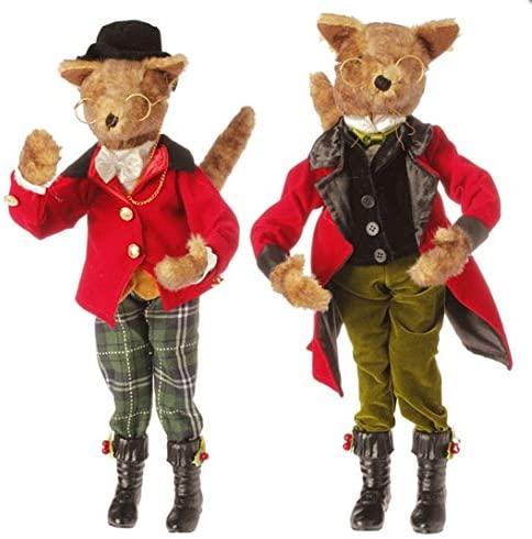 Raz 19 Poseable Brown Fox with Plaid Pants Table Top Christmas Figure