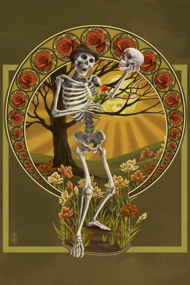 Day of the Dead - Skeleton Holding Sugar Skull (12x18 Art Print, Wall Decor Travel Poster)