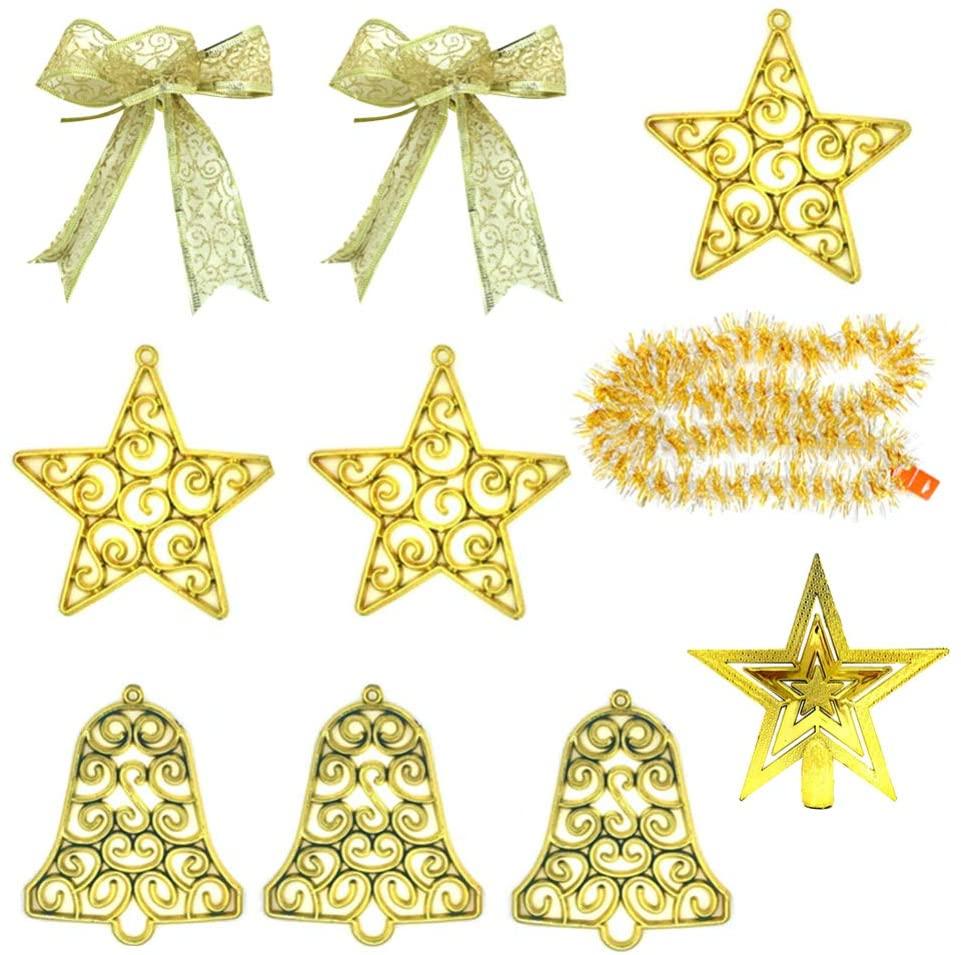 Amosfun 10Pcs Christmas Hanging Pendant Decorative Christmas Tree Ornament Golden Xmas Party Hanging Ornament