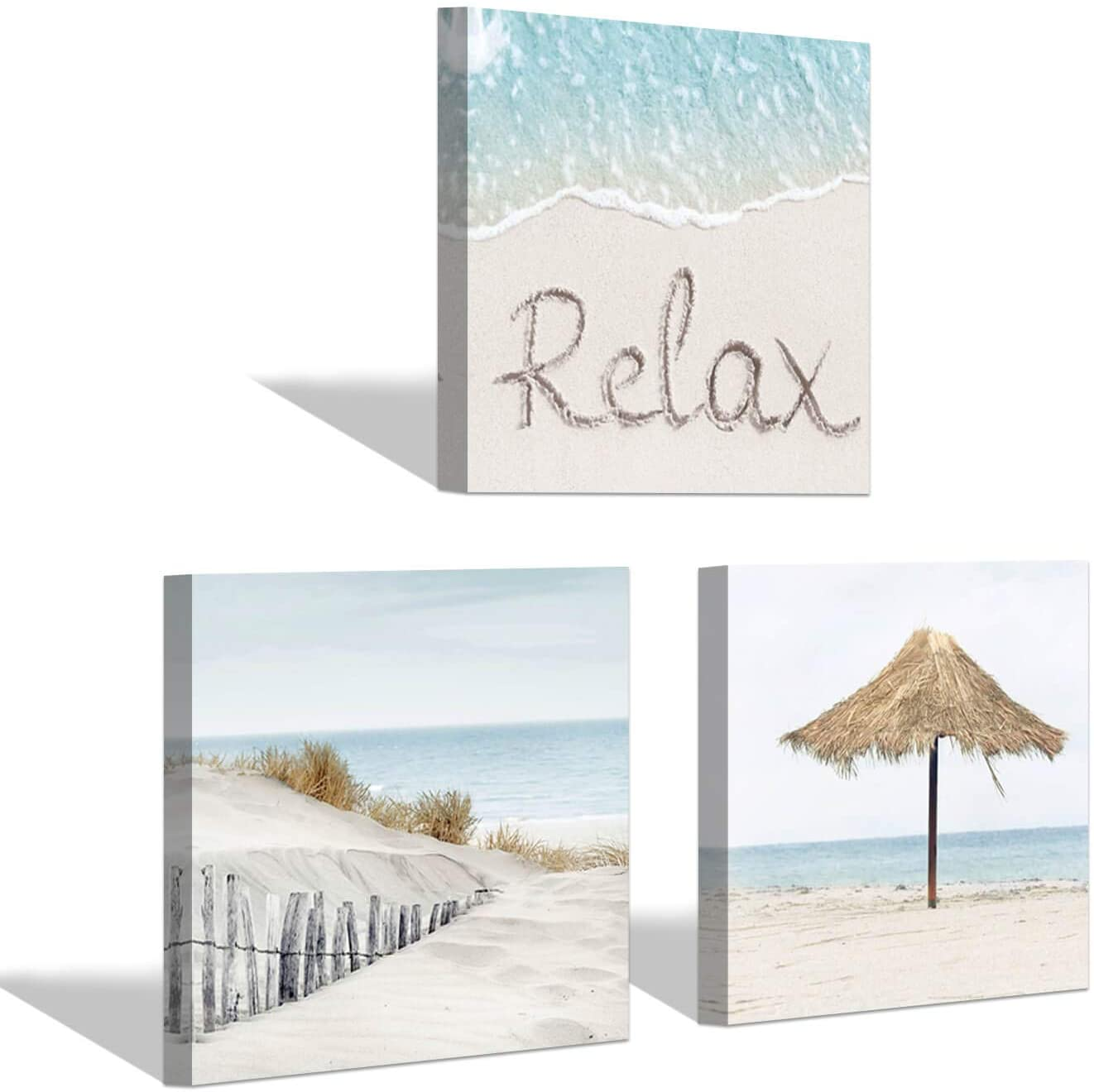 Beach Canvas Artwork Wall Art: Coastal View Seascape Wave & Sand Print Picture on Canvas for Home Decor(12'' x 12'' x 3 Panels)