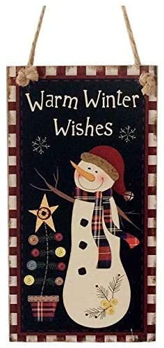 INNAPER Warm Winter Wishes Snowman Hanging Board Wood Hanging Sign Plaques Christmas Party Decoration(49BW1908)
