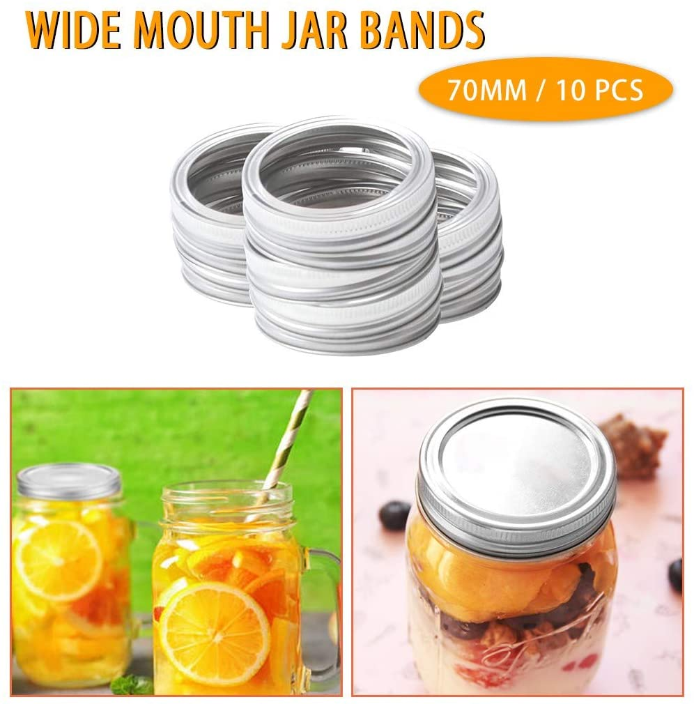 10 PC Regular Mouth Mason Jar Lids And Bands For Mason Jar Wide Mouth, Split-type Lids Leak Proof And Secure Canning Jar Caps(Including No mason canning jar) (70mm 10x Rings, Silver)