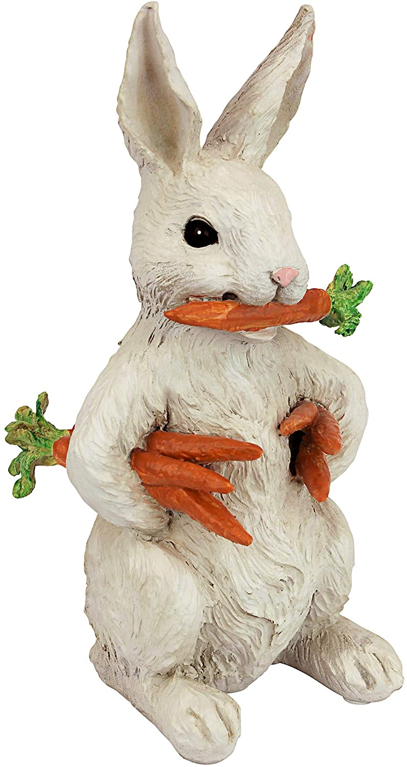 Design Toscano EU1054 Carotene The Rabbit with Carrots Easter Decor Garden Statue, 12 Inch, Full Color