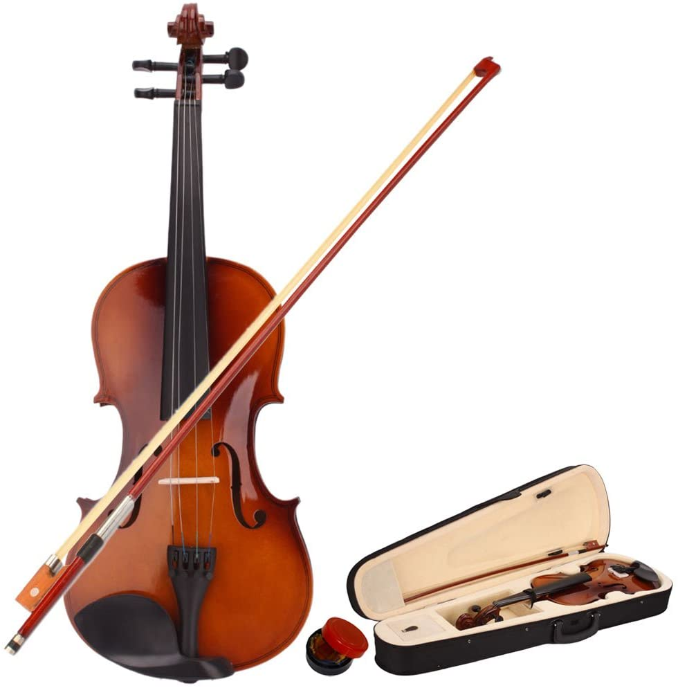 4/4 Size Acoustic Maple Violin Set With Case + Bow + Rosin + Strings, Pegs, And Chin Rest Are Also Made From Wood,U.S. warehouse shipment,Natural Color
