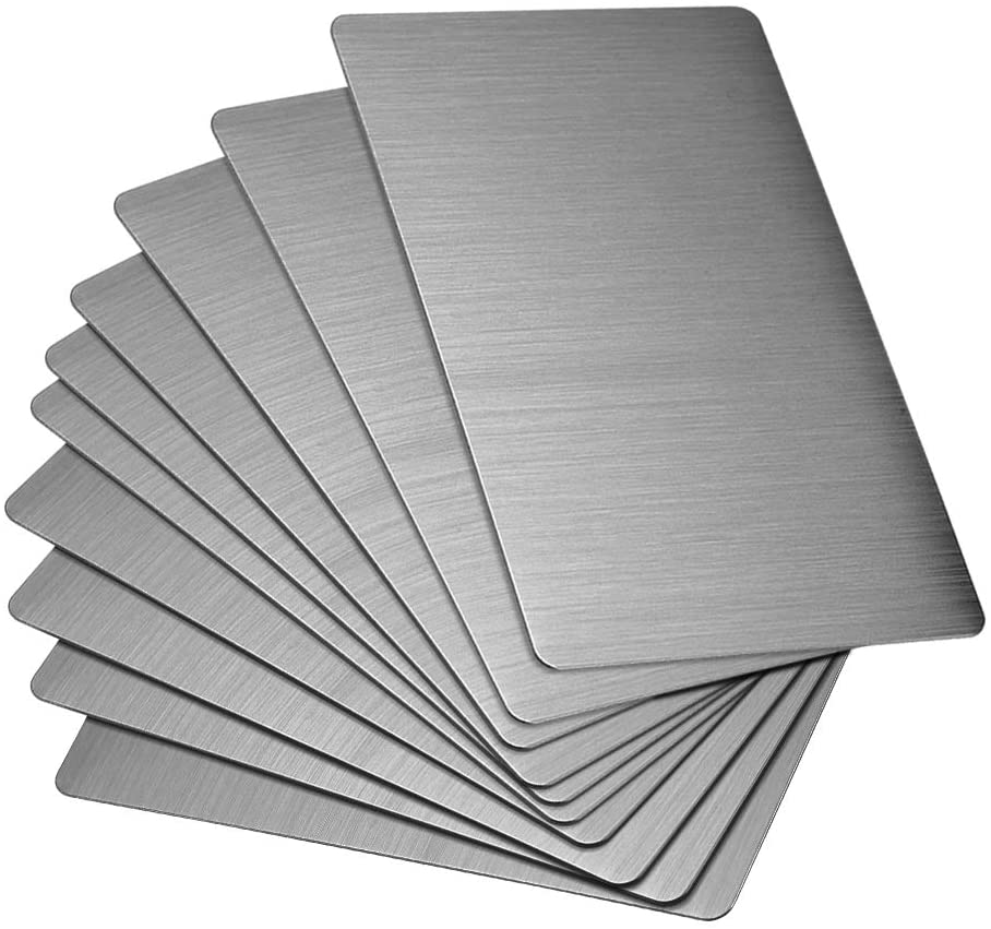 uxcell Blank Metal Business Card 80x50x0.4mm Brushed 201 Stainless Steel Plate for DIY Laser Printing Engraving Dark Gray 15 Pcs