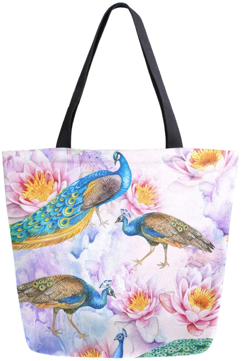 ZzWwR Stylish Beautiful Peacocks and Lotuses Extra Large Canvas Shoulder Tote Top Handle Bag for Gym Beach Travel Shopping