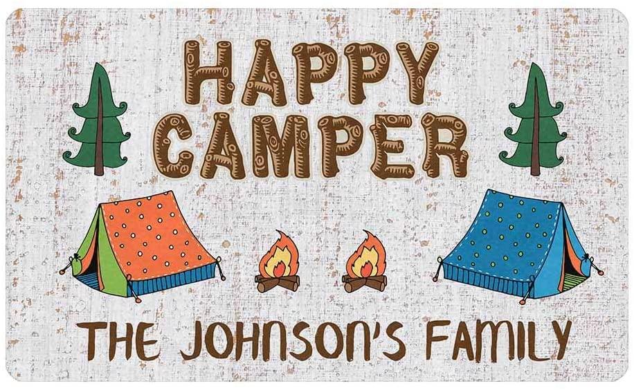 Custom Door Mat, Personalized Rug Happy Camper in The Forest with Tent Torches Name Doormat Door Mat Floor Rug Indoor Outdoor Front Entrance Bathroom Living Room Non Slip Decor 30x18 Inches