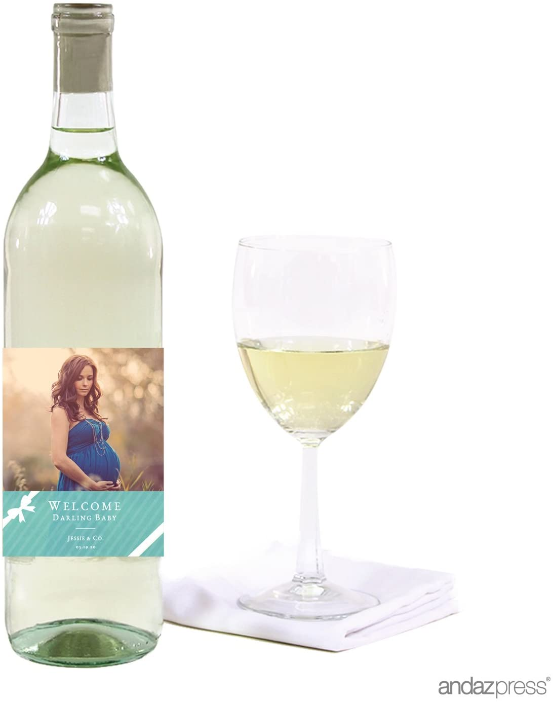 Andaz Press Photo Personalized Baby & Co. Baby Shower Collection, Wine Bottle Labels, 20-Pack, Custom Image