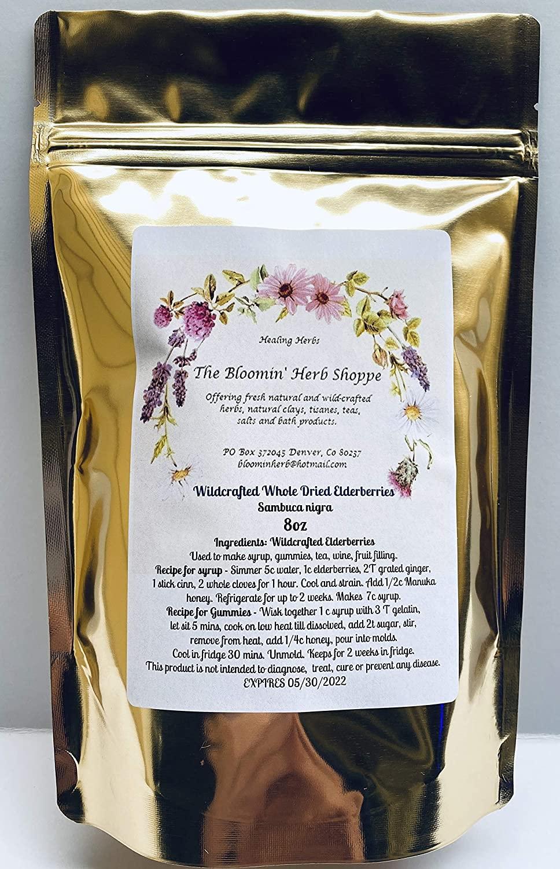 Wild Crafted Whole Dried Elderberries | 8oz | Sweet-Tart Taste Fresh Aroma | Sambucus Nigra | The Bloomin Herb Shoppe | Immune Booster | DIY Syrup Gummies Juice Tea |