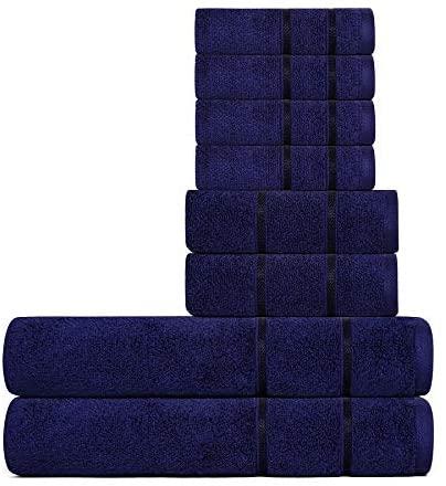 Divine Allure Luxury Zero Twist -100% Naturally Feather Soft Zero Twist Ringspun Cotton Yarn,Extra Large,Elegantly Plush, (8 Pcs Towel Set, Navy)