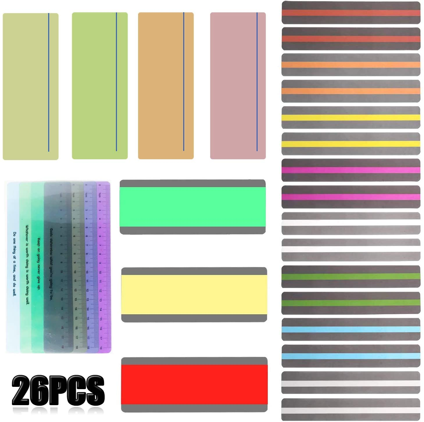Seasonsky 27 Pack Reading Guide Highlight Strips Colored Overlays Bookmarks Reading Tracking Rulers for Teachers, Childrenand Dyslexics