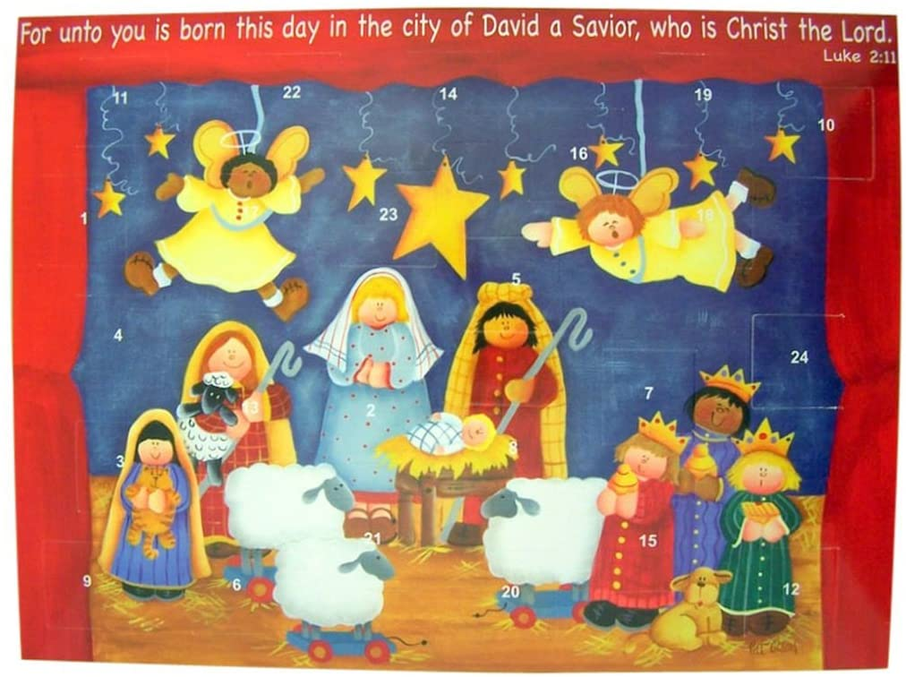 Cardstock Christmas Nativity Advent Calendar with Die Cut Pull Tabs, 10 Inch (12)