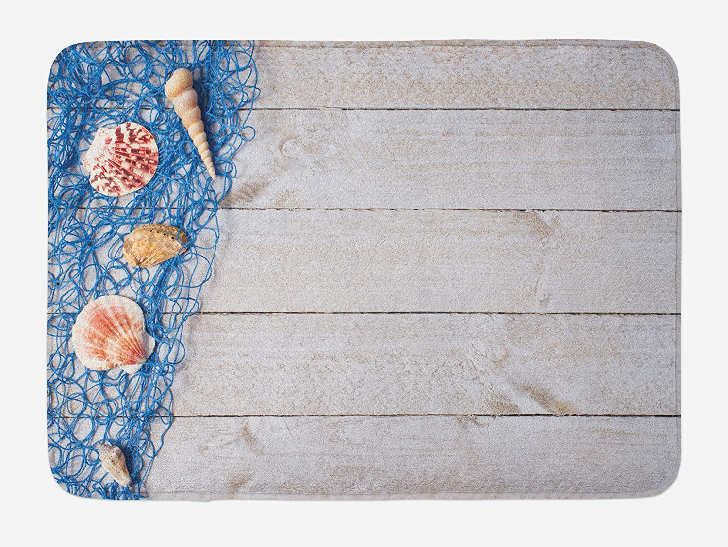 Lunarable Rustic Bath Mat, Marine Nautical Composition on an Oak Backdrop Shell Fishing Net Web Summer Image, Plush Bathroom Decor Mat with Non Slip Backing, 29.5