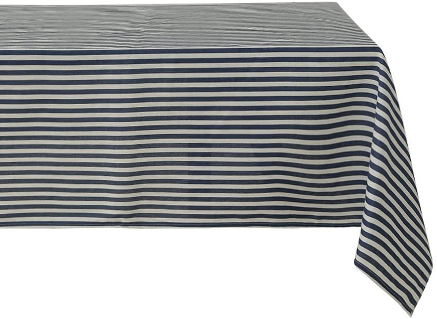 Sense Gnosis Table Decorative Tablecloth Blue and White Striped for 6 Foot Table Waterproof Oil and Spill Proof Stain Cover for Rectangular Dining Table 55 x 86 Inch Tabletop Decoration Outdoor Picnic