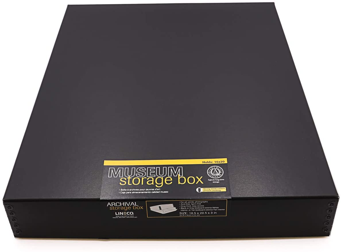 Lineco, 16x20 Black Museum Archival Storage Box, Drop Front Design. Acid-Free with Metal Edge. Protects Picture Longevity, Organize Photos, Documents, Crafts, DIY.