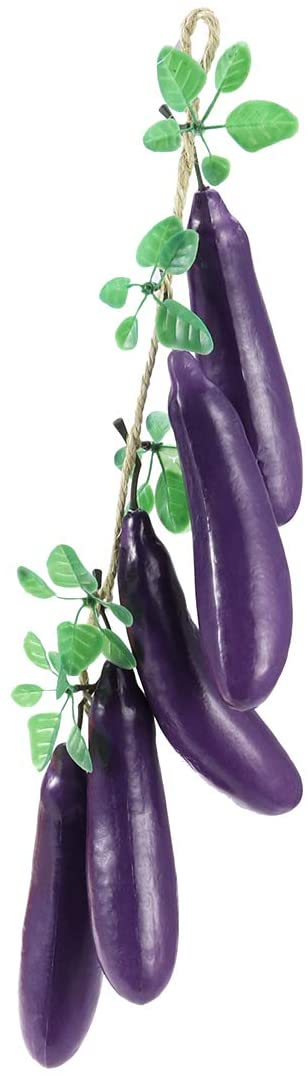 BESTOYARD Artifical Vegetables and Fruits Strings 5 Fake Eggplant Hanging Strings for Kitchen Restaurant Wall Farm Hanging Decoration