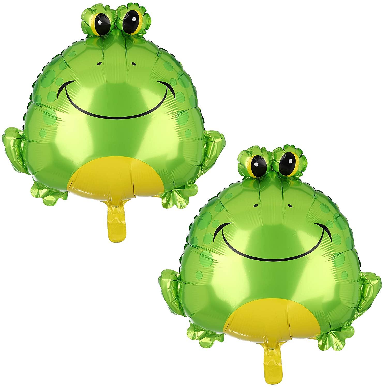 2 Pcs Green Frog Big Mylar Foil Balloon Birthday Baby Shower Decor Supplies Animal Farm Themed Party Decorations