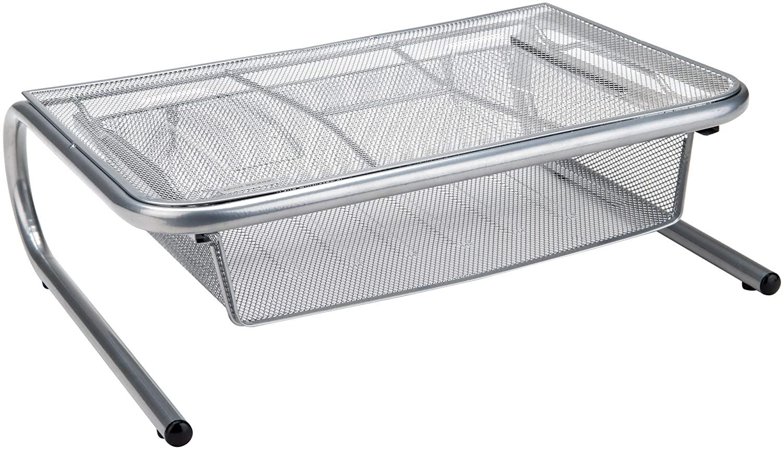 Mind Reader Mesh Stand with Shelf Monitor Riser with Storage Organizer Drawer, Silver