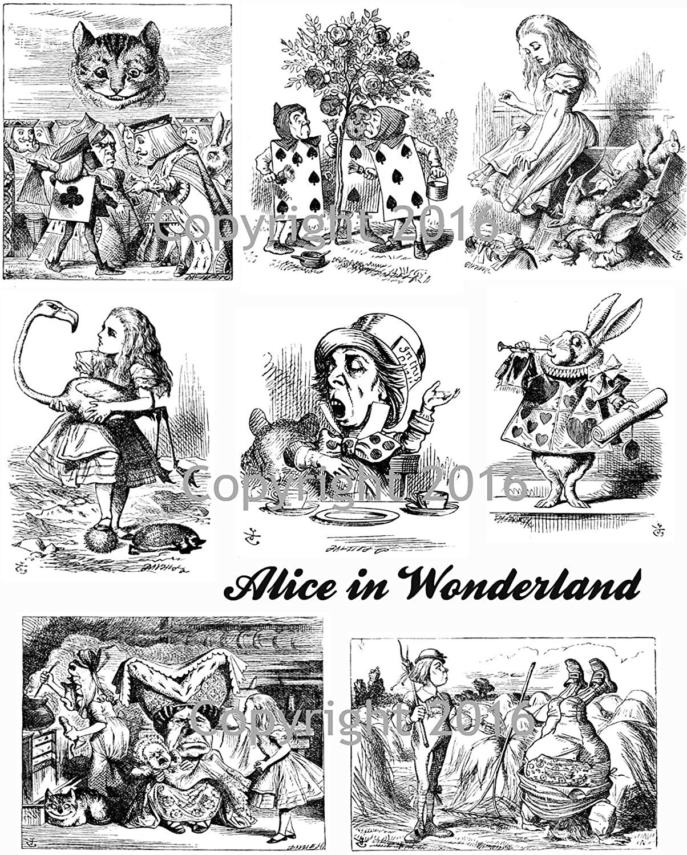 Victorian Vintage Alice in Wonderland John Tenniel Illustrations Collage Sheet #105